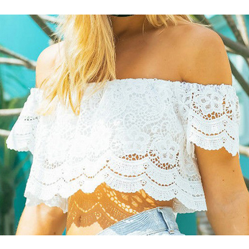 Sexy Summer Women Off Shoulder Lace Flower Crop Top Tee Tank T-Shirt White