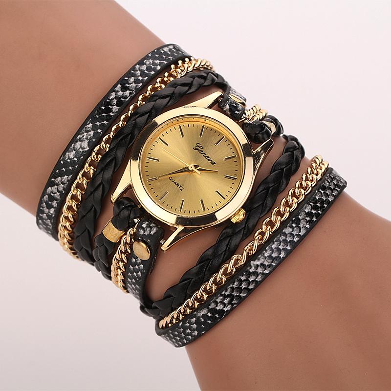 Geneva Fashion Women's Multilayer Leopard Watch Faux Leather Wristwatch