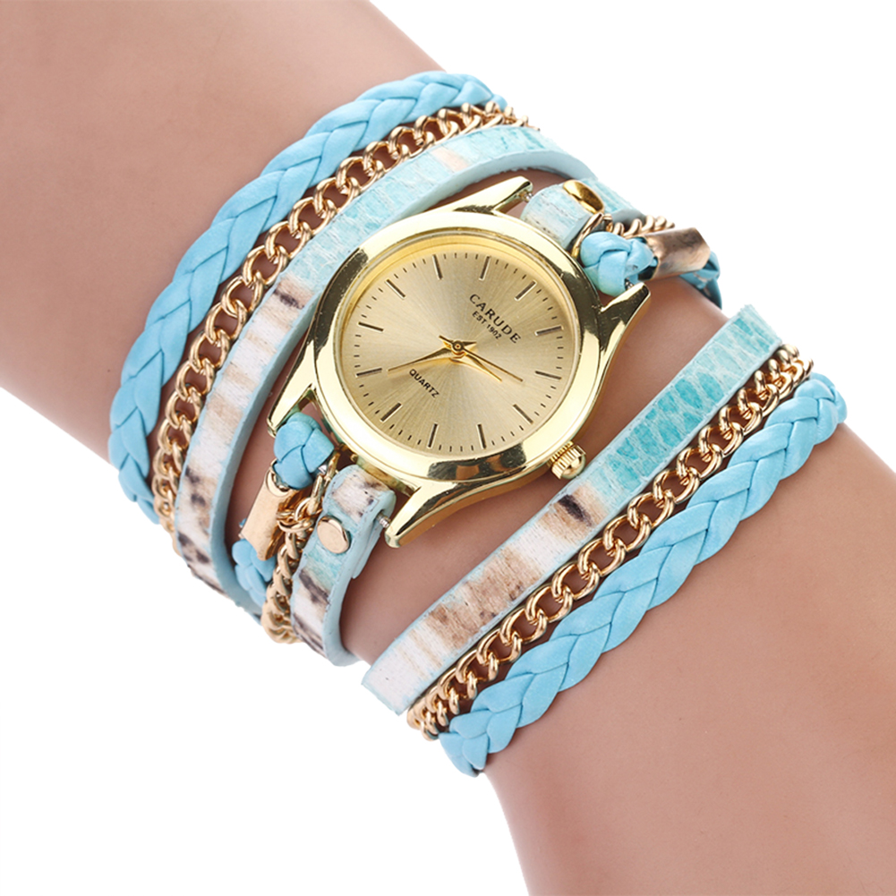Geneva Fashion Women's Multilayer Leopard Watch Faux Leather Wristwatch