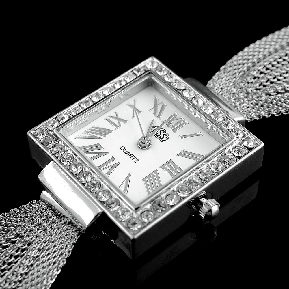 Women Men Mesh Belt Rhinestone Lady Bracelet Stainless Steel Movement Watch
