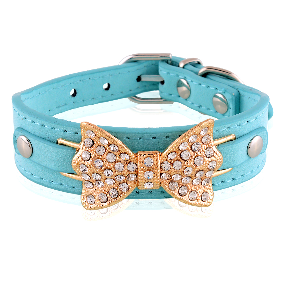 New Pretty Blue Dog Collar Bling Bling Rhinestone Bowknot Puppy Cat Gift