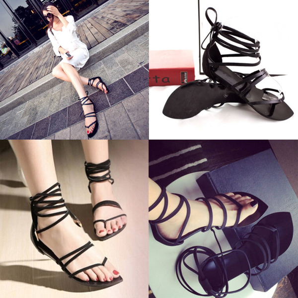 Women Lady Thongs Flip Flop Flats Casual Strappy Shoes Cross Slipper Sandals