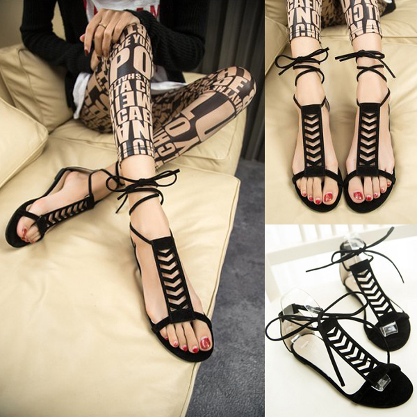 Fashion Women Lady Flip Flop Flats Gladiator Suede Shoes Slippers Sandal