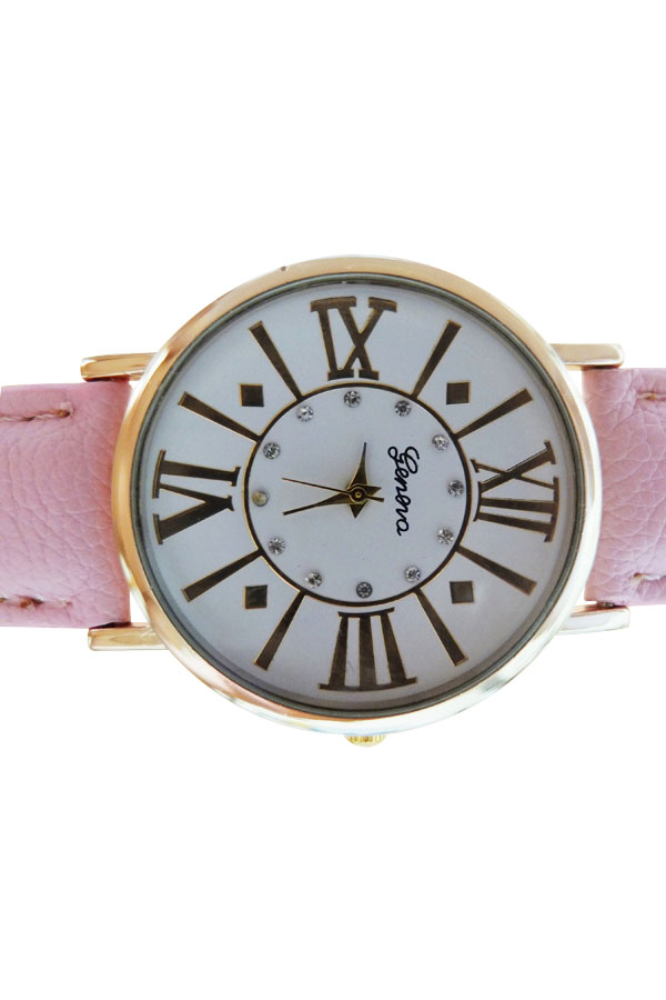 Classic Geneva Women's Vintage Roman Numeral Faux Leather Band Analog Watch