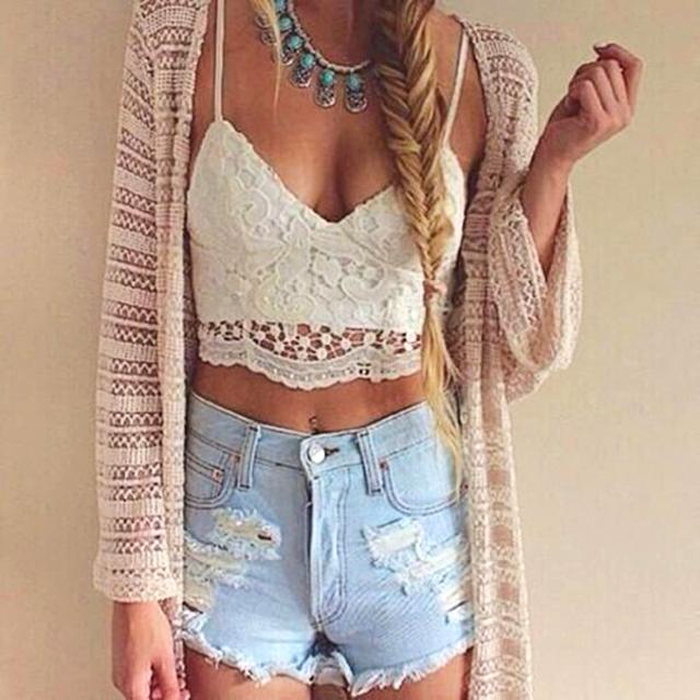 Women Crochet Bustier Tank Camisole Lace Floral Vest Blouse Bra Crop Top