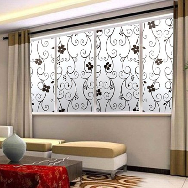 New 45x100cm frosted cover glass window black floral for Sticker occultant fenetre