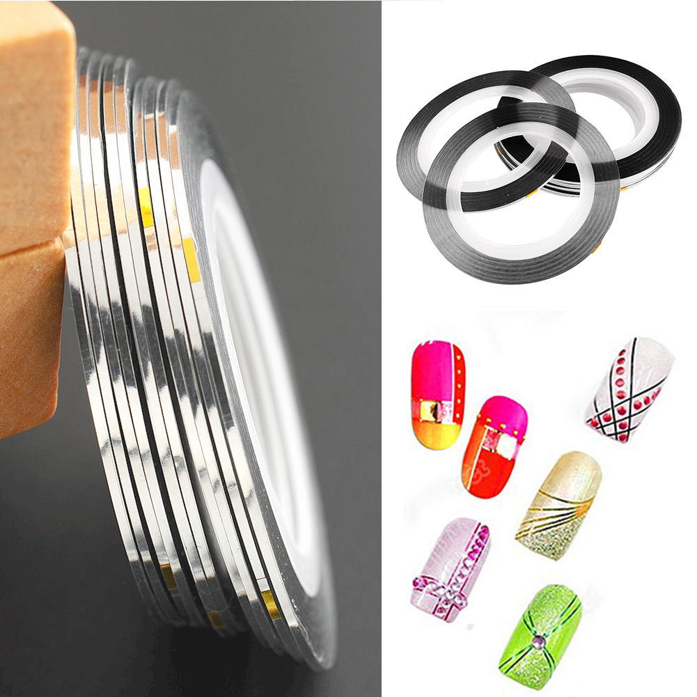 New 10Pcs Nail Art Striping Line Sticker Strap Tape Rolls