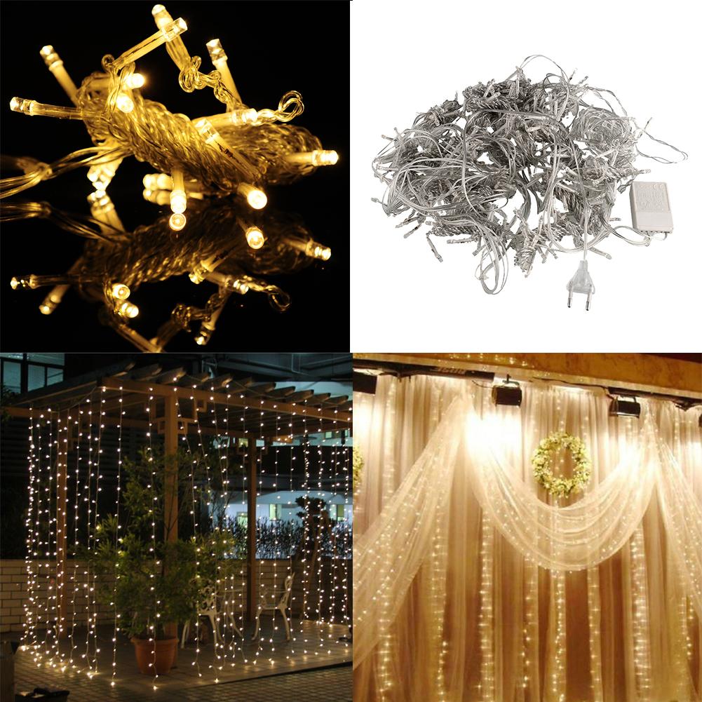 3mx3m 300 led string wedding curtain light gorgeous 220v for Garden rooms on ebay