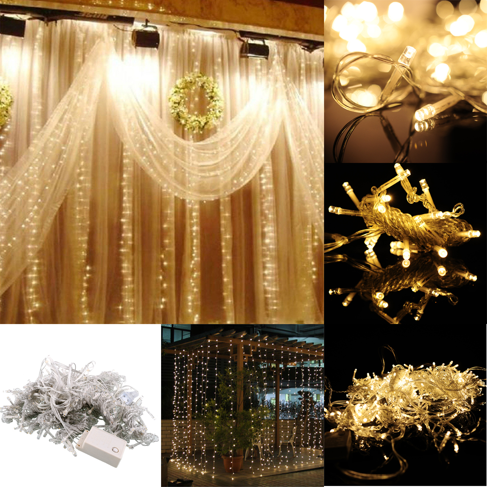 3mx3m 300 led string wedding curtain light gorgeous 110v for Room decor led lights
