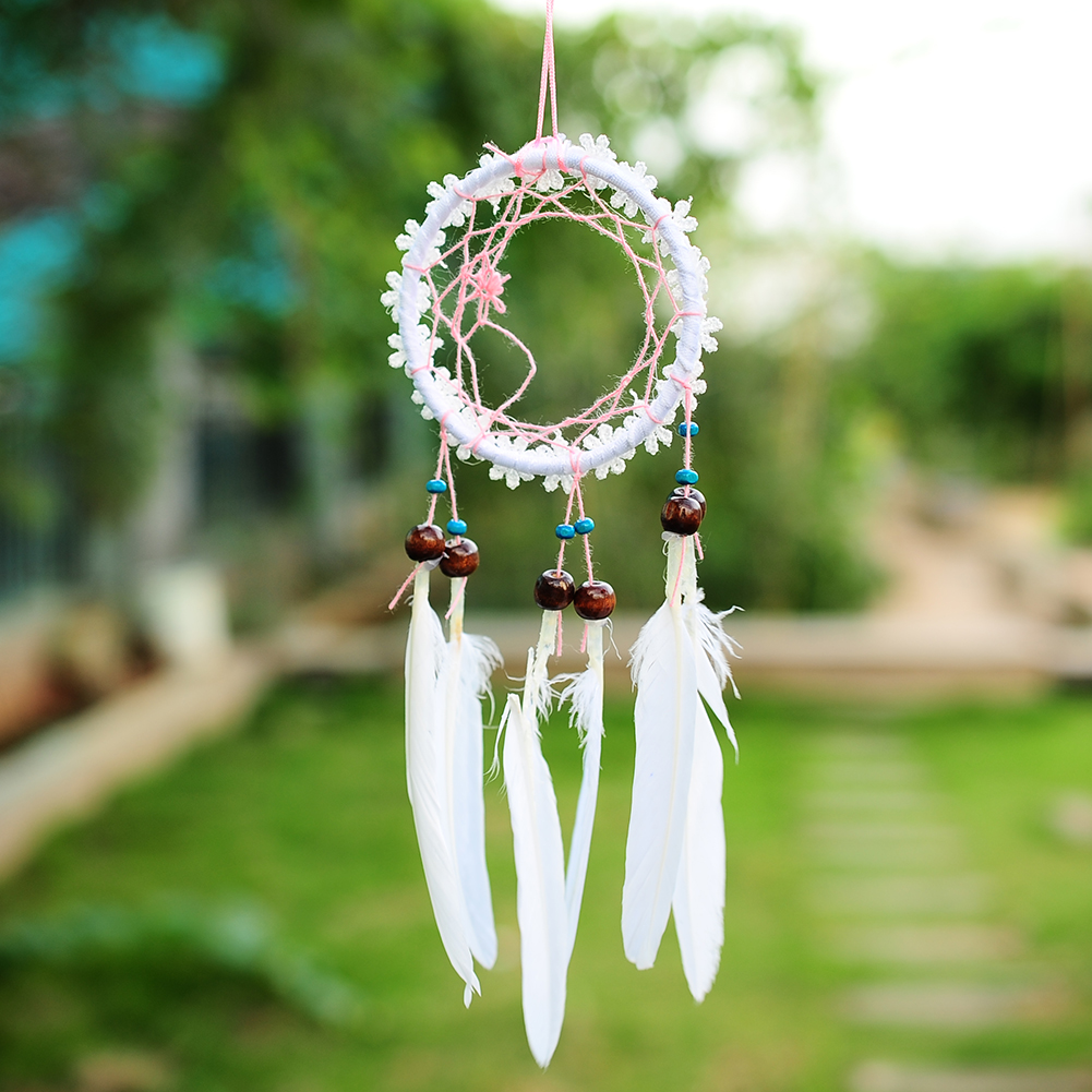 Mini white flower dream catcher net with feathers wall for Decoration hangers