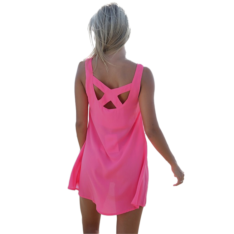 Sexy Women Lady Summer Loose Cross Casual Sleeveless Mini Evening Dress Pink