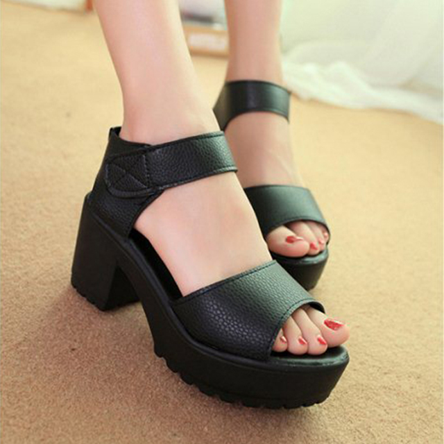 Women Open Toe Peep Toe Platform High Heel Gladiator Sandals Chunky Shoes