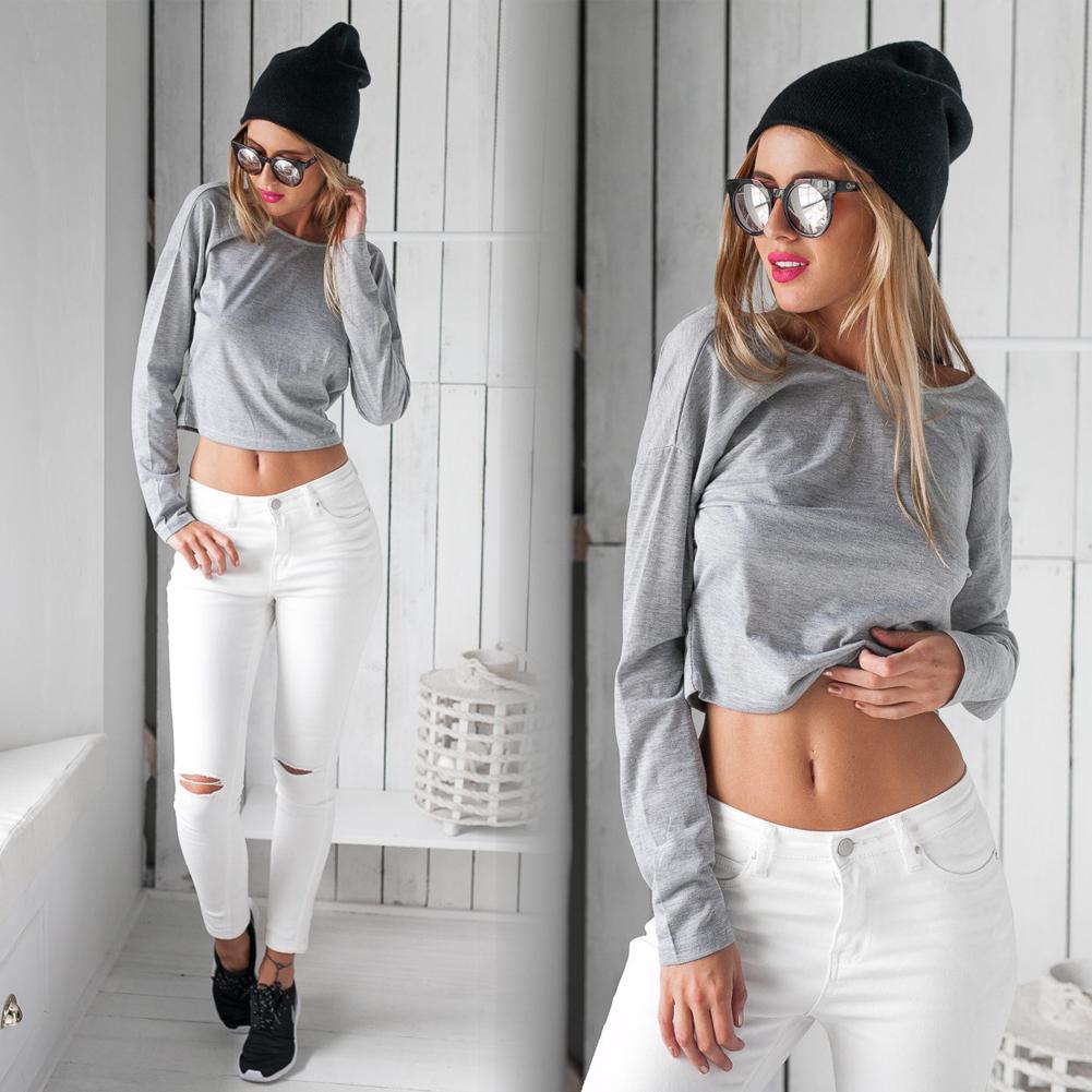 New Women Long Sleeve Backless Crop Top Bustier Bralette Blouse Shirt T-Shirt