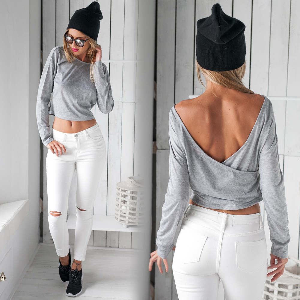 New Women Long Sleeve Backless Crop Top Bustier Bralette Blouse Shirt T-Shirt
