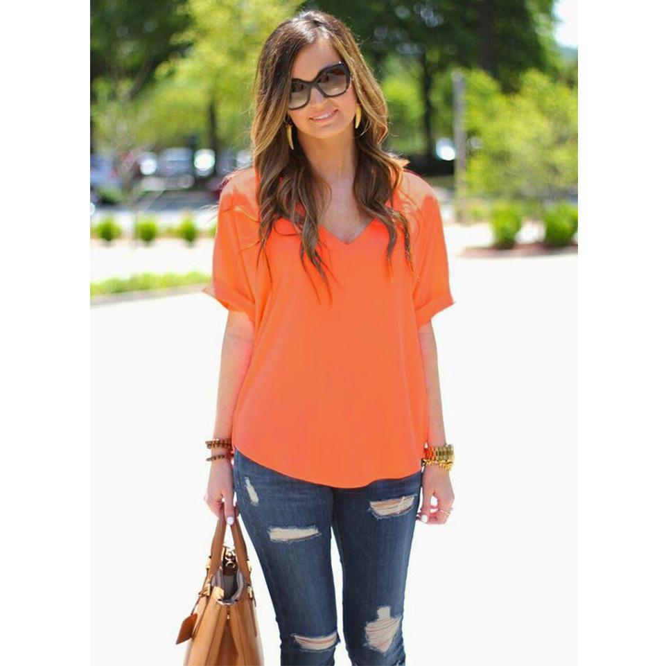 Women Casual Loose Fashion Short Sleeve Chiffon V Neck Top Blouse Shirt T-Shirt