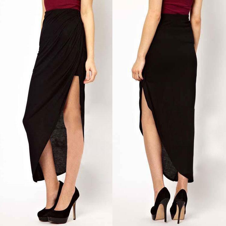 Women Lady Bodycon High Waist Ruffle Beach Cocktail Evening Split Long Skirt