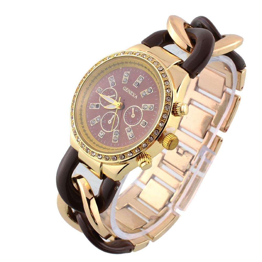 luxury gold silver square quartz bangle bracelet chain