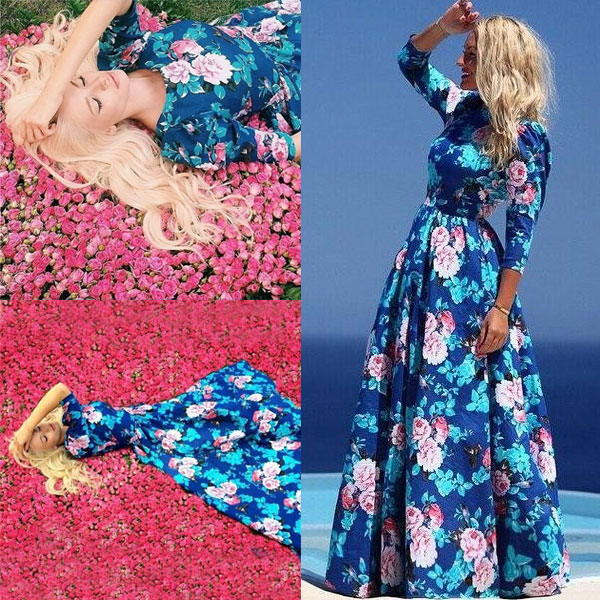 New-Fashion-Women-Lady-Maxi-Dresses-Beach-Floral-Long-Evening-Cocktail-Dress