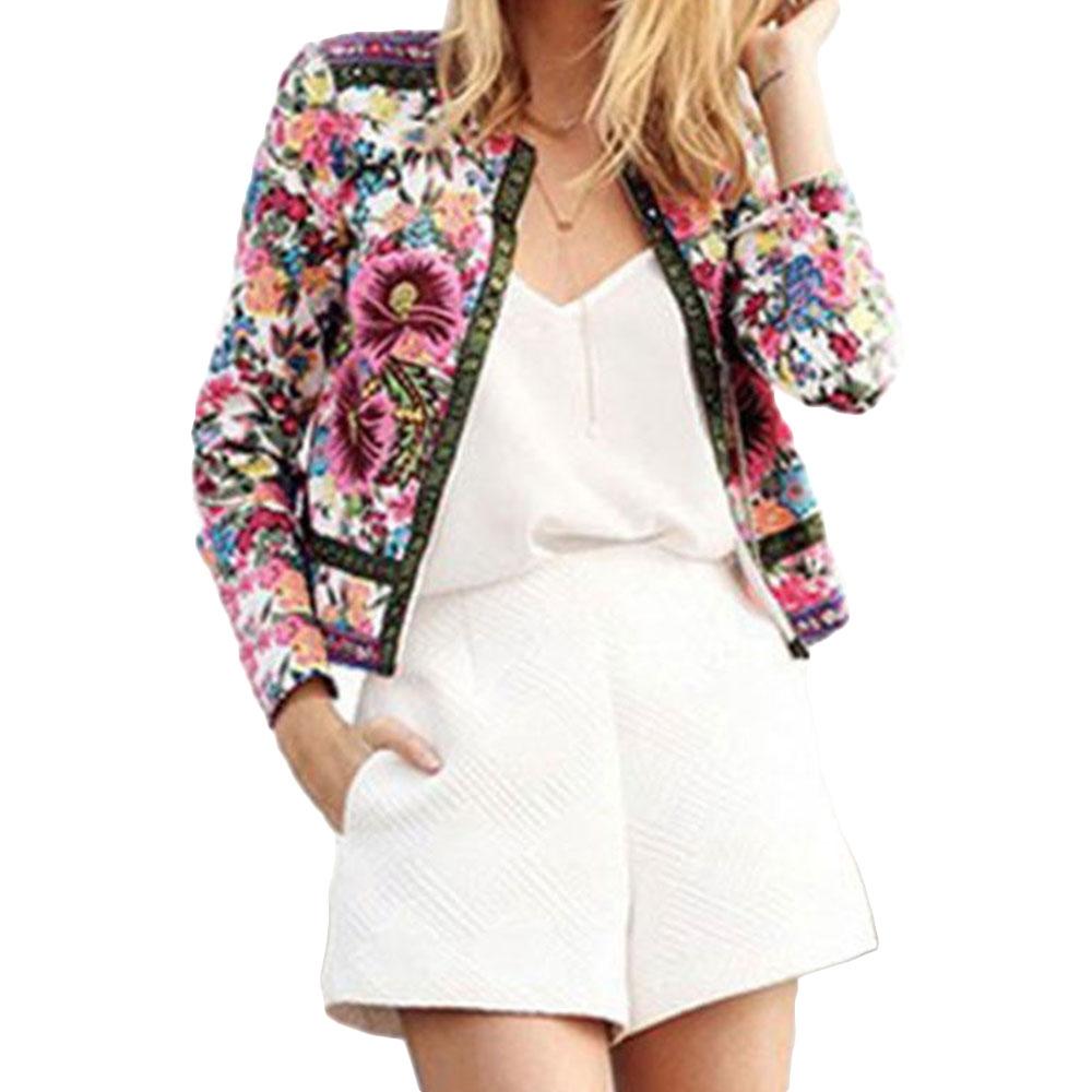 New Women Sexy Floral Parka Blazer Outwear Blouse Long Sleeve Coat Jacket