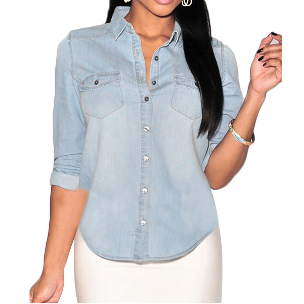 Women Fashion Casual Pocket Denim Button Down Stand Collar