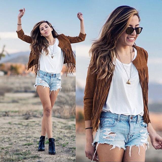 Fashion Women Warm Tassel Trench Outwear Chic Jacket Overcoat Windbreaker Coat