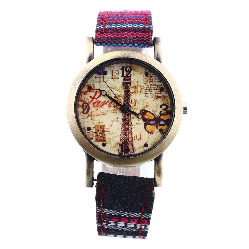 womens eiffel tower faux leather denim analog wrist