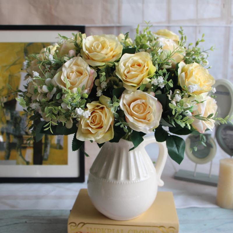 12 Head Rose Flower Artificial Silk Wedding Decor Bridal Bouquet Party Craft