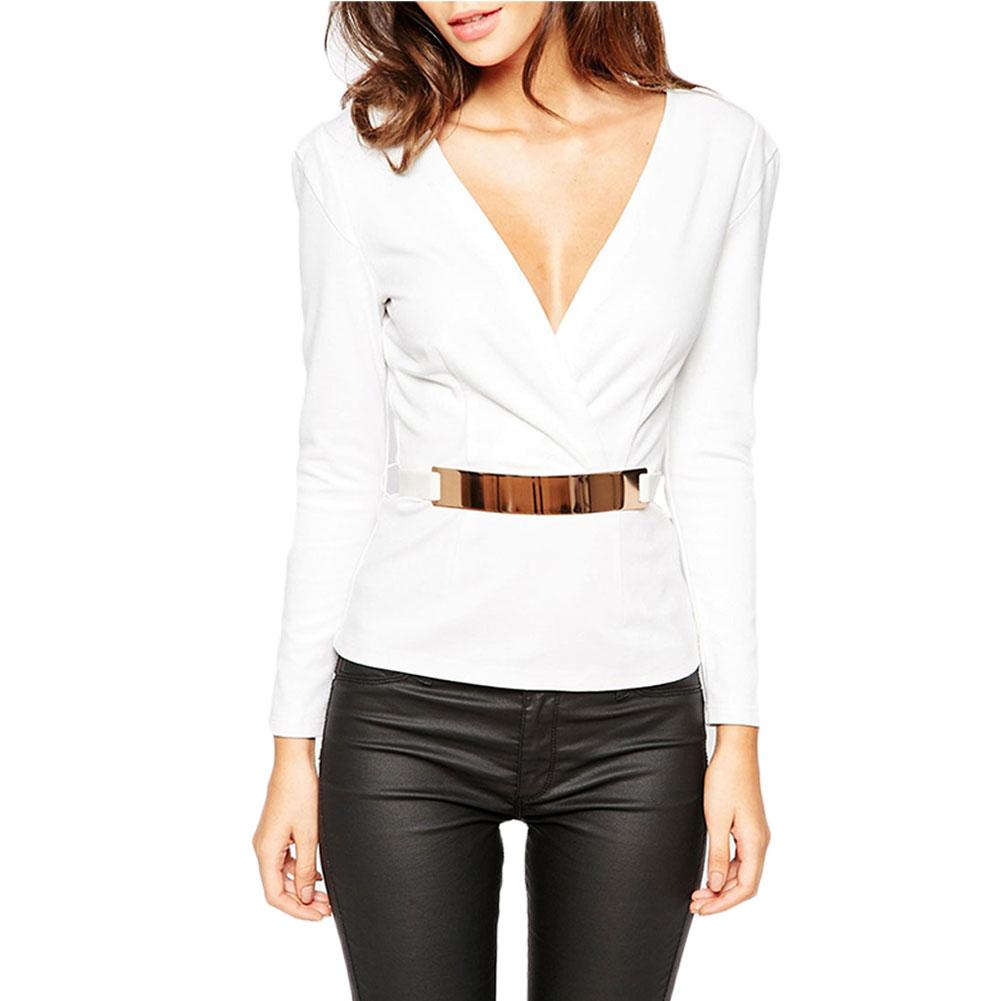 Women sexy fashion cross long sleeve v neck blouse shirt for Long sleeve v neck tee shirts