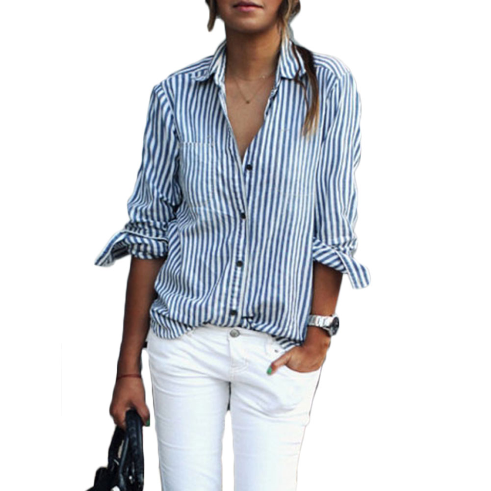 Women Lady Casual Fashion Stripe Button Down Stand Collar