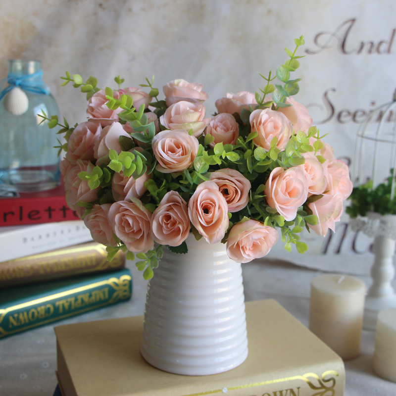 10 head rose flower wedding decor bridal bouquet party for Bouquet hotel