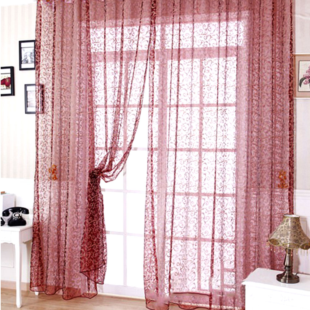 modern floral voile window curtain drape panel sheer valances room decor ebay. Black Bedroom Furniture Sets. Home Design Ideas