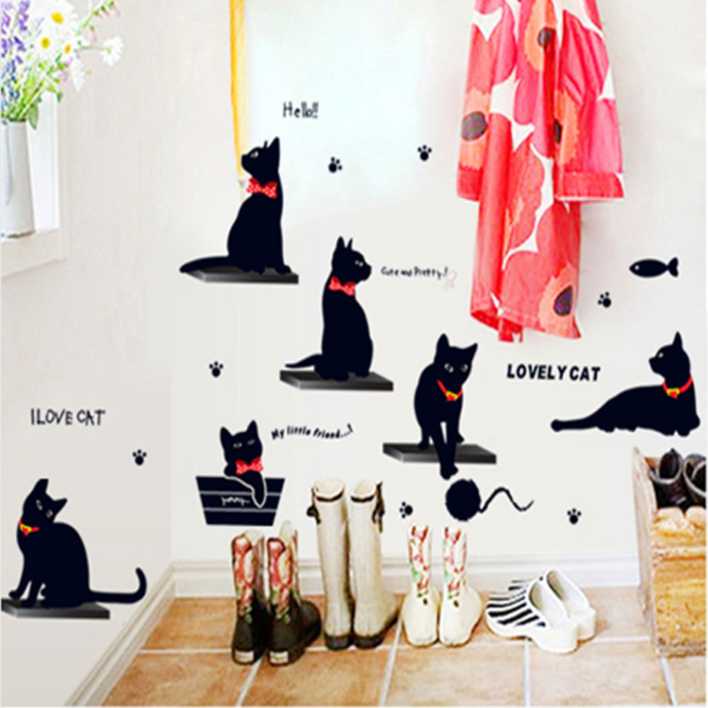 wall decal family art bedroom decor image is loading vinyl wall decal stickers cartoon black cat family