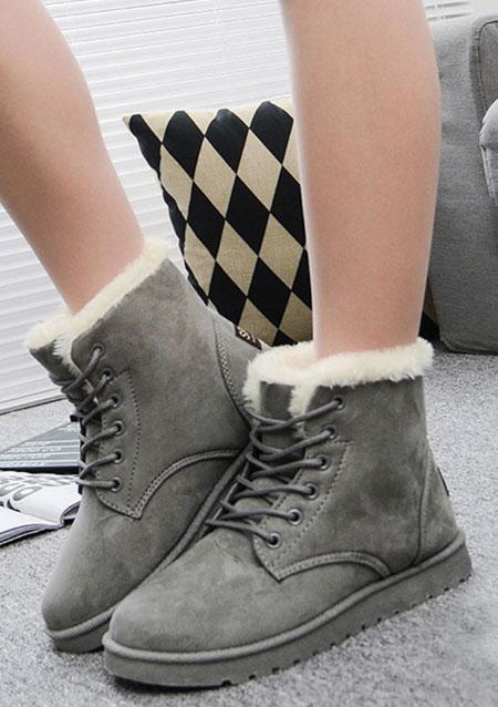 Fashion Women Fur Lace Up Martin Warm Trainers Snow Shoes Ankle Boots EU37-40