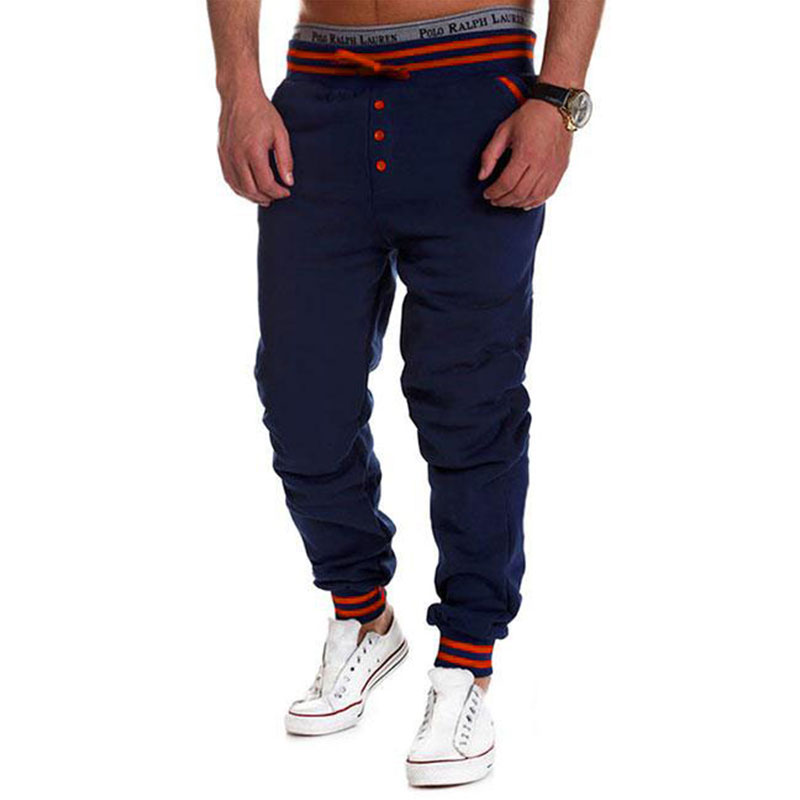 Men s loose outdoor buttons full length trousers running