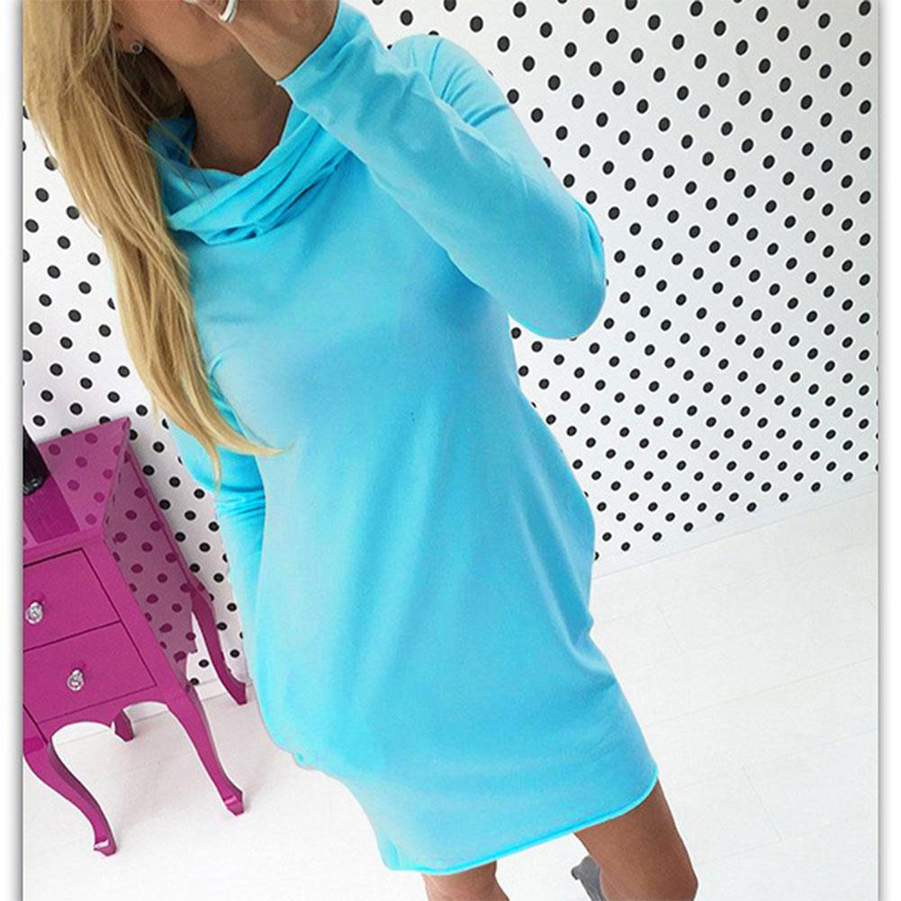 Women Long Sleeve Turtleneck Pocket Cocktail Evening Party Casual Mini Dress