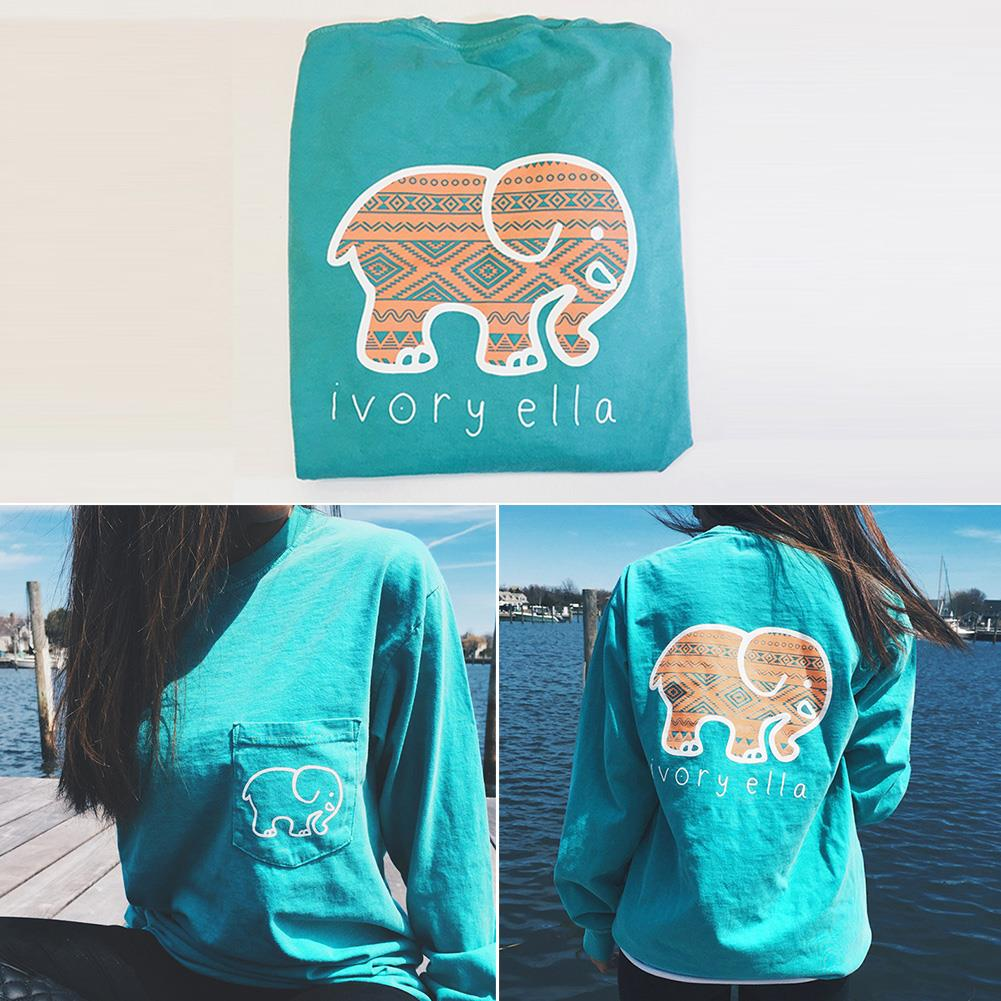 Woman Long Sleeve Elephant Top Blouse Jumper Pullover Fashion Tee T-Shirt