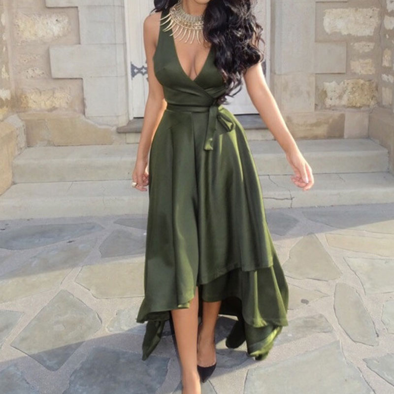 Women-Cocktail-Swing-Pleat-Sleeveless-Solid-One-Piece-Maxi-Dress-With-Belt