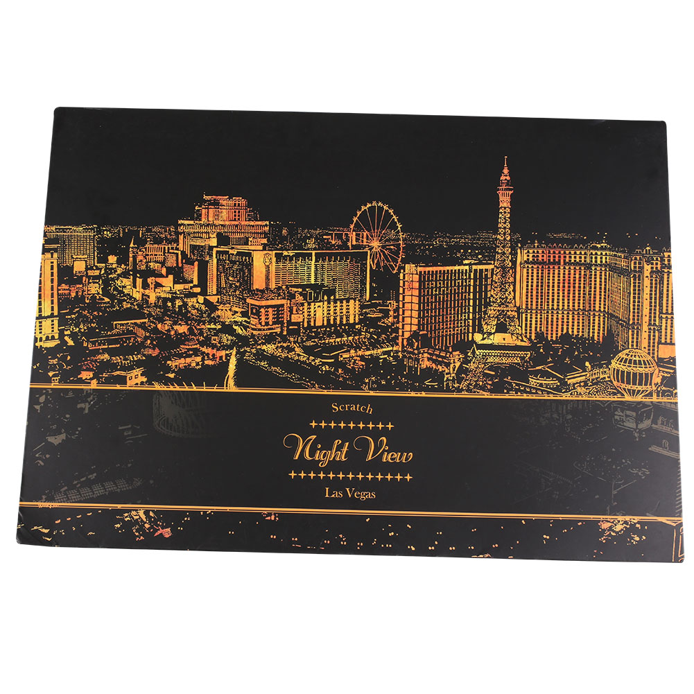 Night View Famous City Drawing Scratch Painting Paper with Gold Scratch Pen