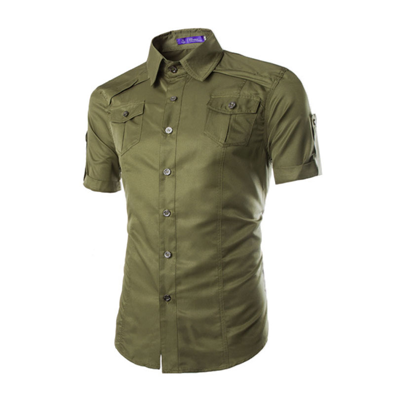 Men 39 s pockets button down short sleeve top blouse pullover for Mens pullover shirts short sleeve