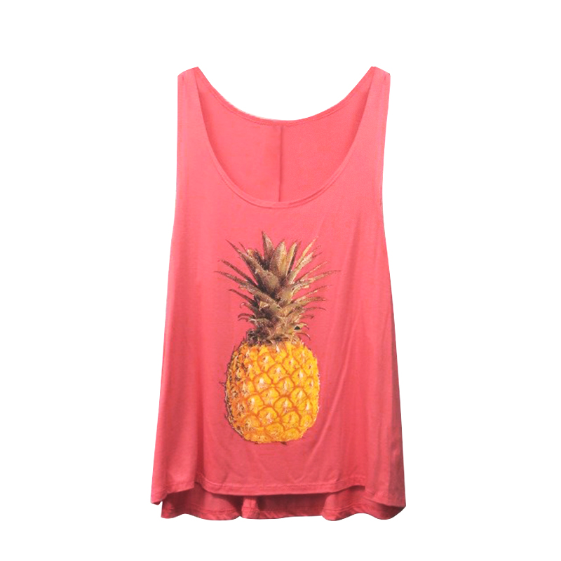 Woman Sleeveless Pineapple Casual Sexy Summer Top Blouse Tank Cami T-Shirt Vest