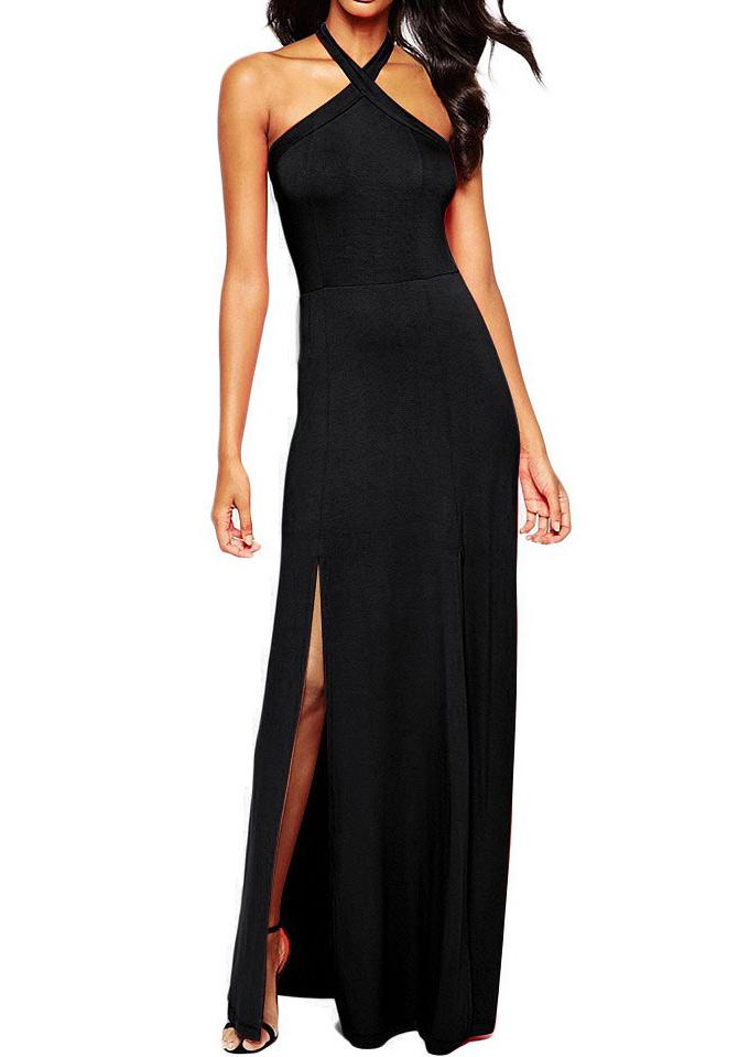 Women Sleeveless Halter Slit Party Long Maxi Backless Slim Sundress Dress