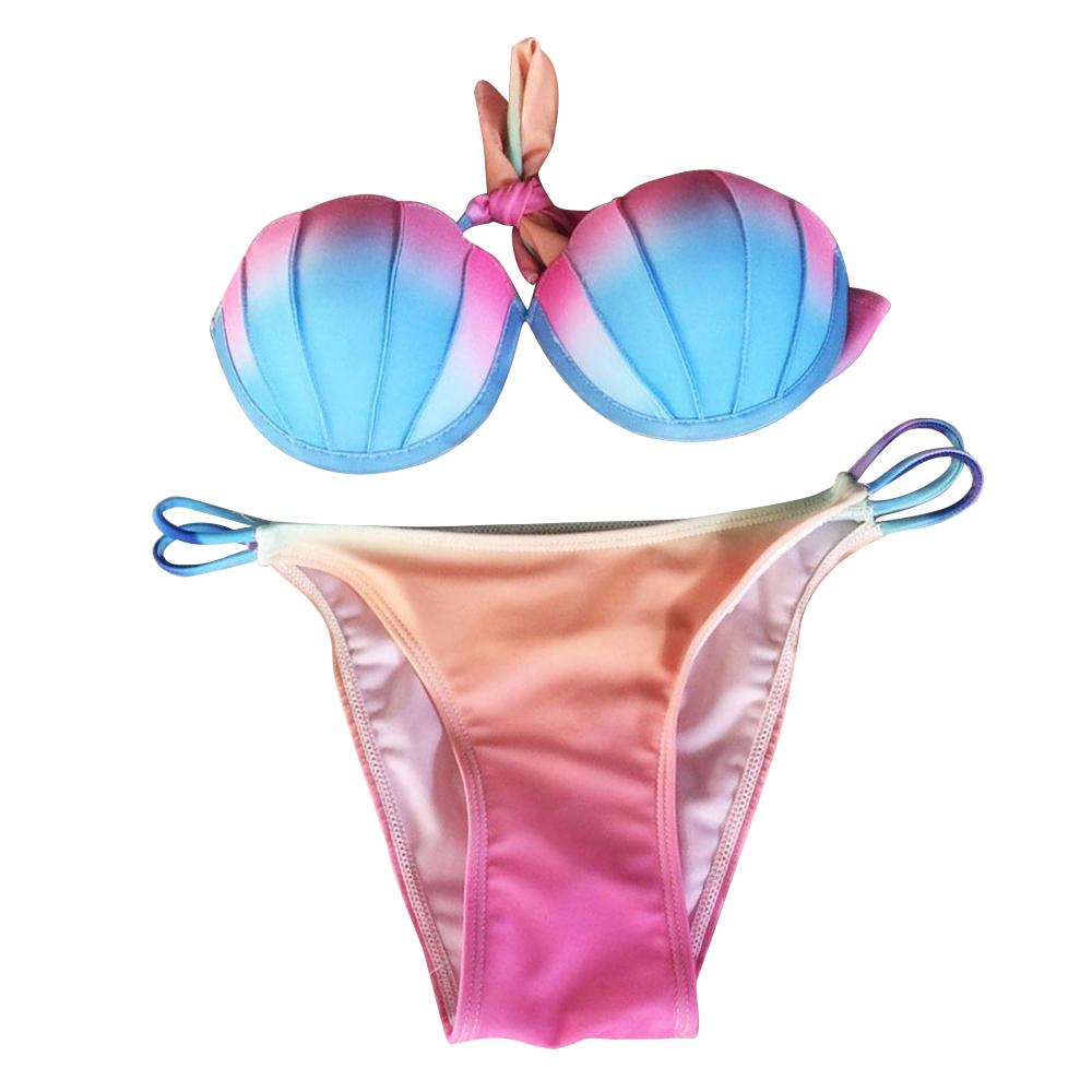 Women Shell Beachwear Underwire Bra Set Swimsuit Swimwear Two-piece Bikinis Set