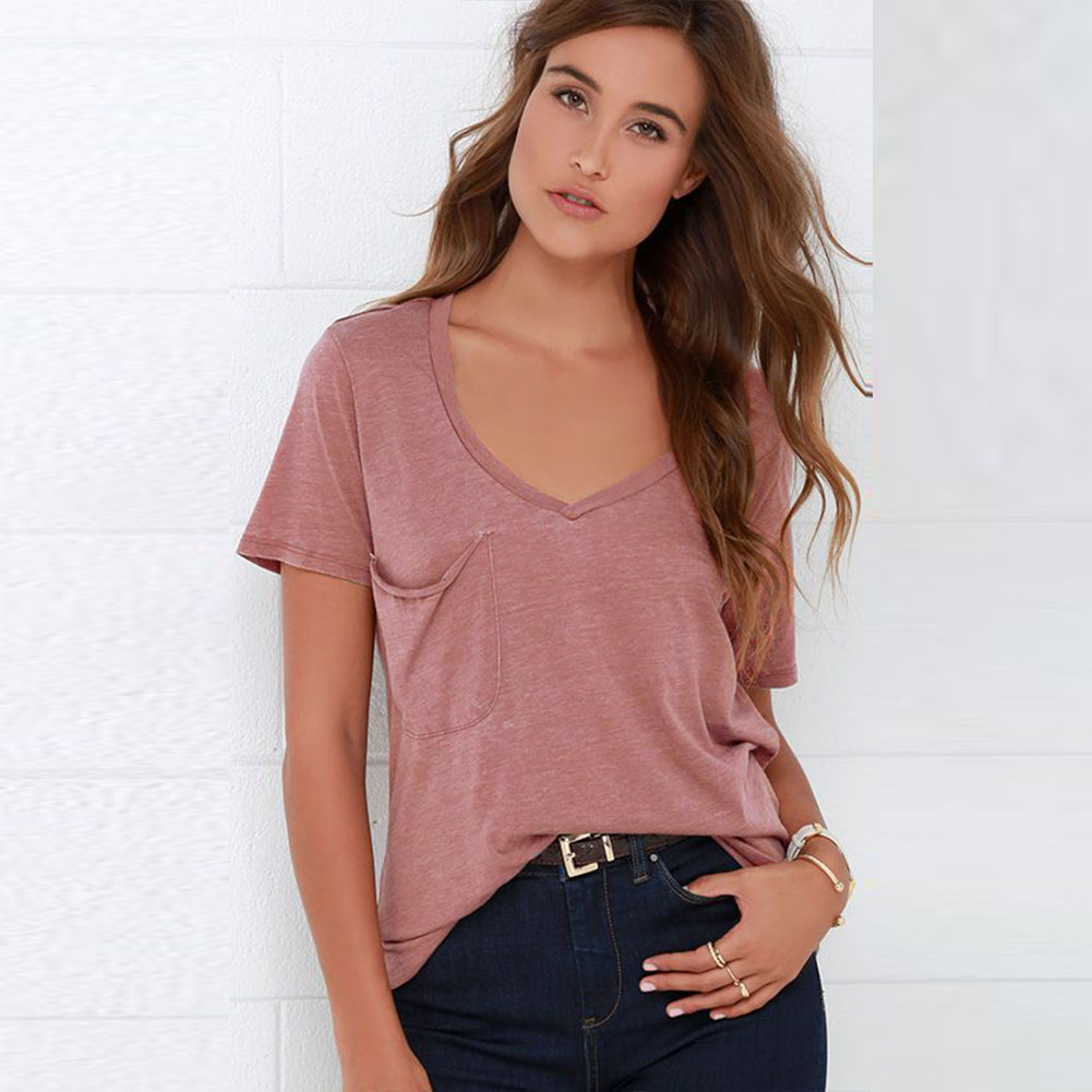 Women pocket casual v neck short sleeve top blouse jumper for Pocket tee shirts for womens