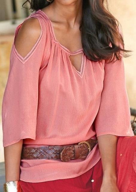 Women-Off-Shoulder-Deep-V-Neck-Hlaf-Sleeve-Top-Pullover-Shirt-Blouse-Tee-T-shirt