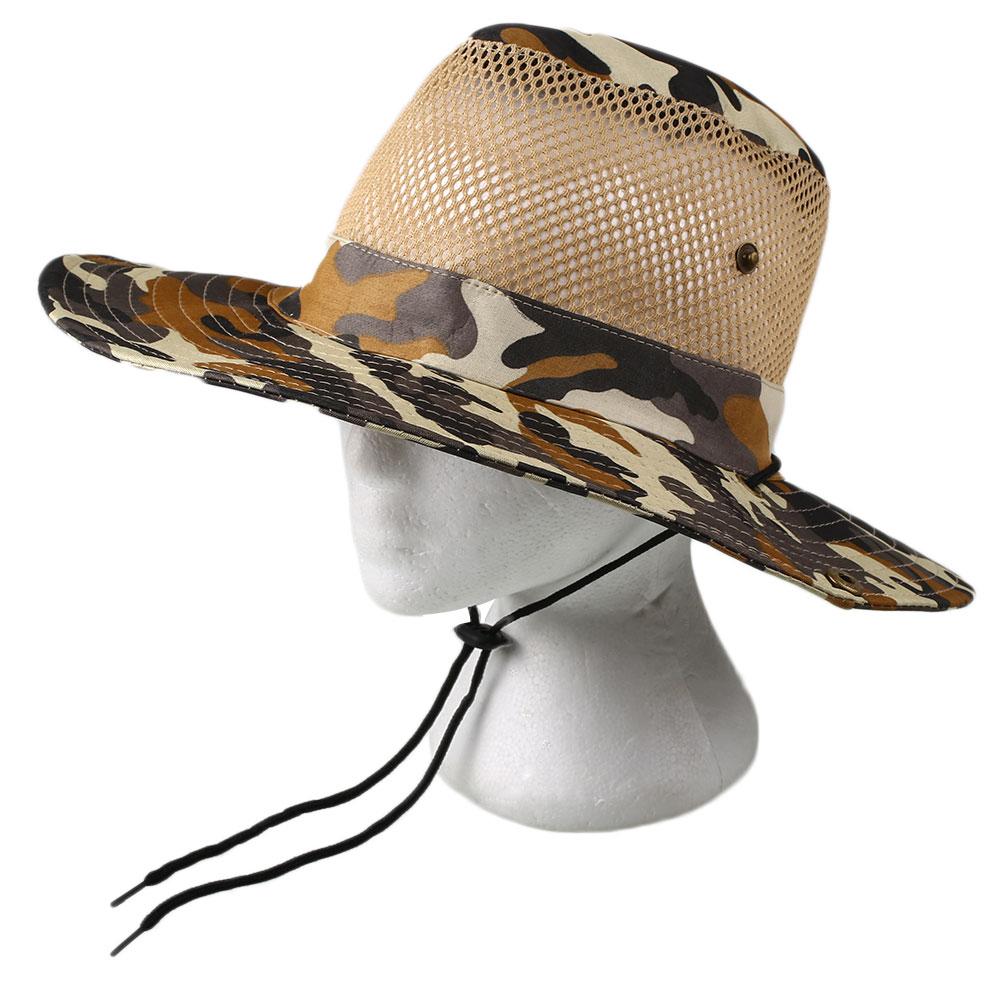 Men women fishing hiking camouflage bucket cap mesh for Womens fishing hat