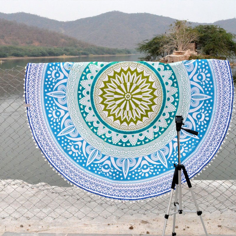 Women-Printed-Round-Boho-Tapestry-Blanket-Yoga-Mat-Cover-Up-Smock-Beach-Towel