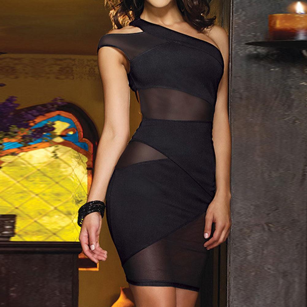 Women See-through Sundress One Shoulder Mesh Hollow Clubwear Sheathy Mini Dress