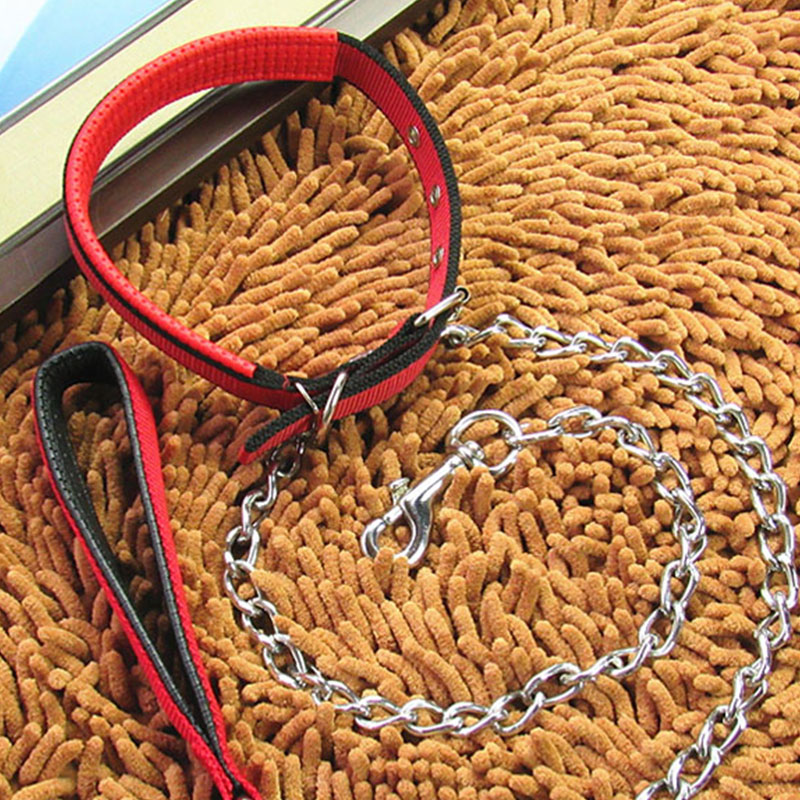 Metal-Big-Dog-Leads-Chain-Collar-Leash-Harness-Set-Safety-Training-Walking