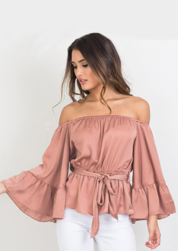 Women-Fashion-T-Shirt-Solid-Off-Shoulder-Backless-Belt-Puff-Sleeve-Sexy-Top-Tee