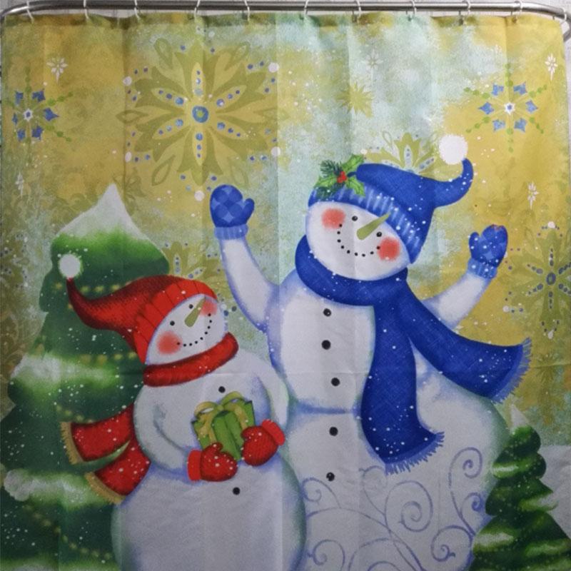 Christmas Pattern Snowman Santa Polyester Bathroom Shower